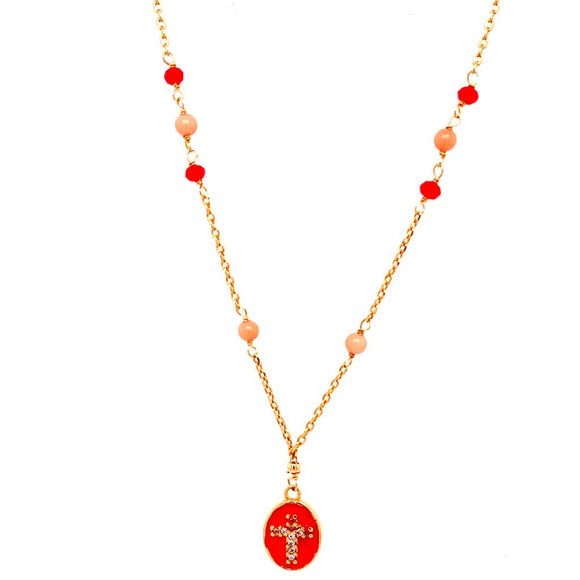 Living Coral Enamelled Cross Necklace - 18k Gold Plated