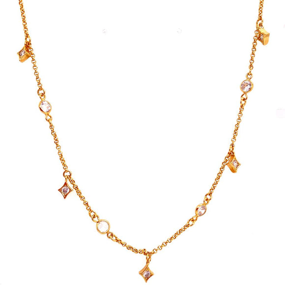 Elegant 5 Points & Crystal Choker Necklace - 18k Gold Plated