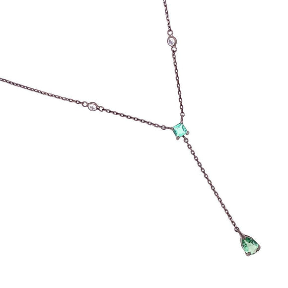 Green Tourmaline Droplet & Square Tie Necklace - Black Rhodium Plated