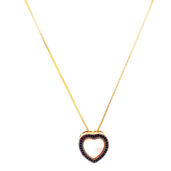 Mother-of-Pearl Small Heart Necklace - 18k Gold