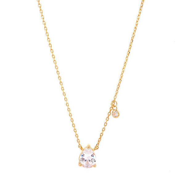 Droplet with Light Point Necklace - Crystal - 18k Gold Plated