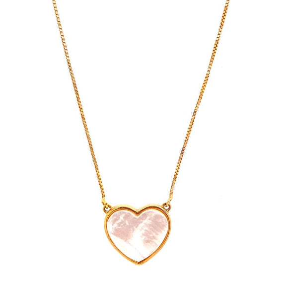 Mother-of-Pearl Heart Necklace - 18k Gold Plated