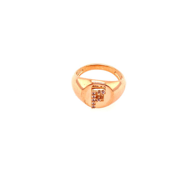 Detailed Ring Little Finger -  letter F