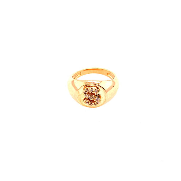 Detailed Ring Little Finger -  letter S