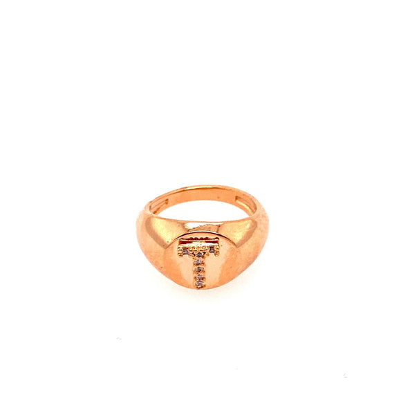 Detailed Ring Little Finger -  letter T