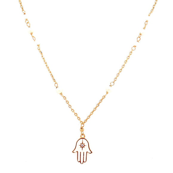 White Enamelled Hamsa Necklace