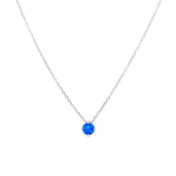 Minimalist Opal Necklace - Sterling Silver 925