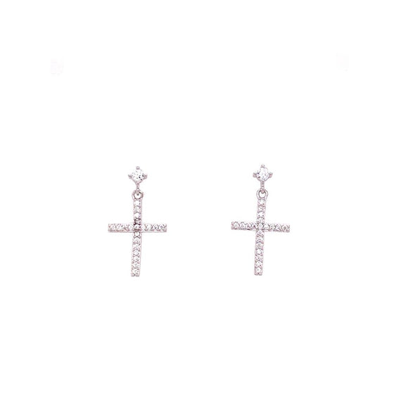 Dangling Minimalist Crucifix Earrings - Sterling Silver 925