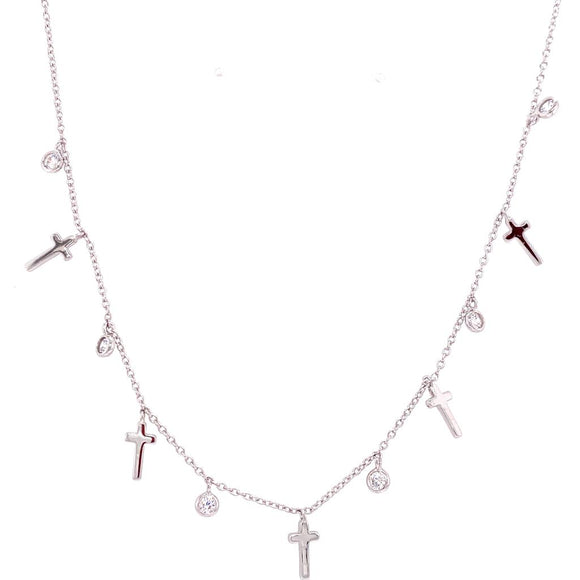 Charms Crucifix & Crystals - Sterling Silver 925