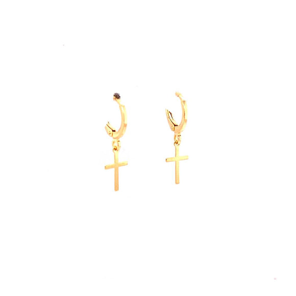 Crucifix Mini Hoop Sleepers - 18k Gold Plated 2