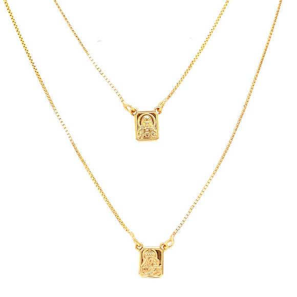 Minimalist Sacred Heart Scapular 60cm Necklace - 18k Gold Plated
