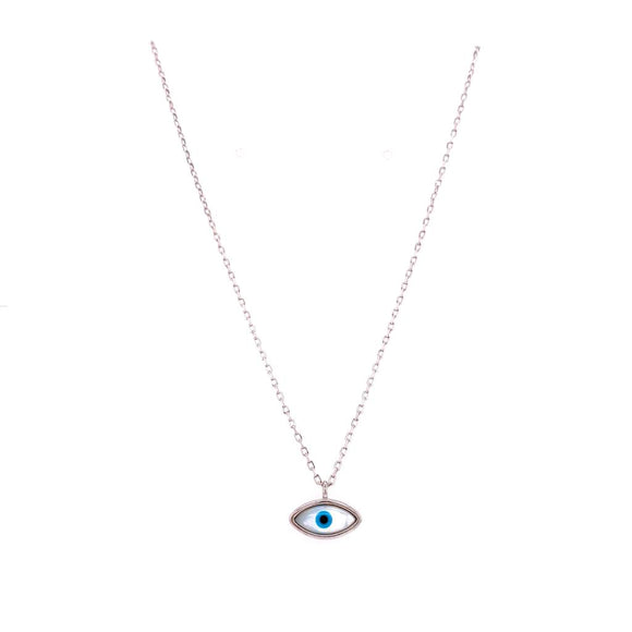 Minimalist Evil Eye Mother of Pearl Necklace - Sterling Silver 925