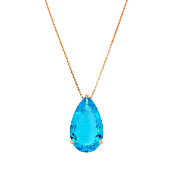 Fusion Acquamarine Drop Crafted Gallery Necklace - 18k Gold Plated