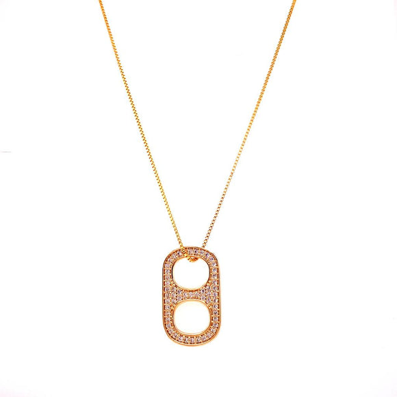 Studded Seal Necklace - 18k Gold Plated