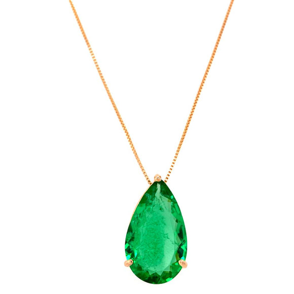 Fusion Green Tourmaline Drop Crafted Gallery Necklace - 18k Gold Plated