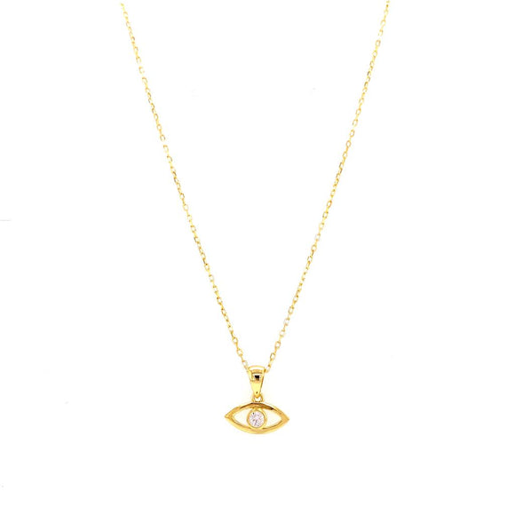 Outline Evil Eye with Crystal Necklace - 18k Gold Plated