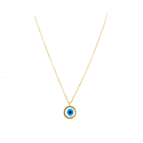 Round Evil Eye Mother of Pearl Necklace - 18k Gold Plated