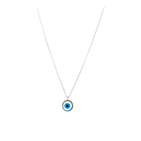 Round Evil Eye Mother of Pearl Necklace - Sterling Silver 925