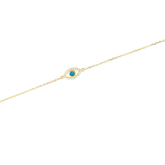 Studed Outline Evil Eye with Turquoise Stone Bracelet - 18k Gold Plated