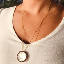 Load image into Gallery viewer, Rainbow Mother-of-Pearl Disc Necklace - 18k Gold