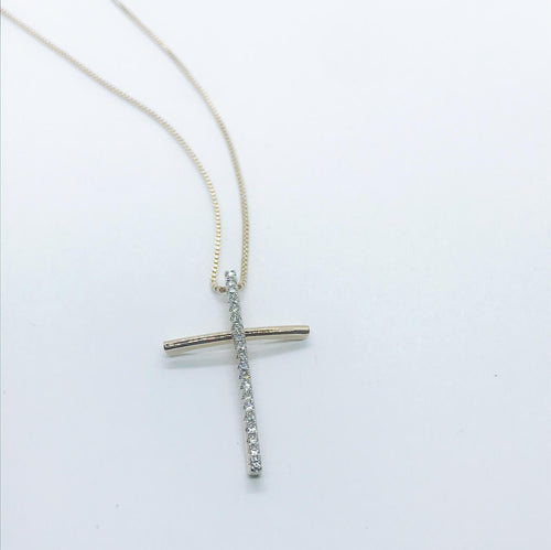 Studded Crucifix Necklace - Crystal - 18k Gold Plated