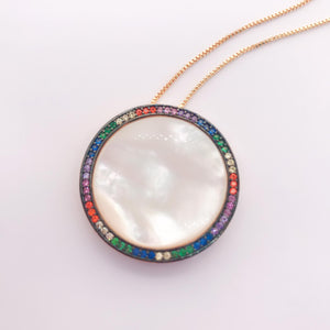 Rainbow Mother-of-Pearl Disc Necklace - 18k Gold