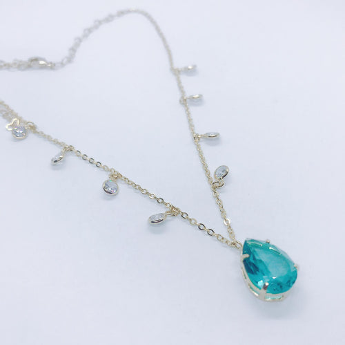 Tiffany Drops Choker - Paraiba Light - 18k Gold Plated
