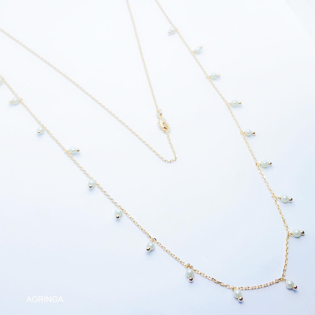 Shell Pearl Long Necklace - White - 18k Gold Plated
