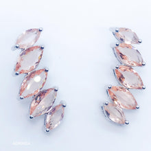 Load image into Gallery viewer, Morganite 5 Stones Ear Cuff - White Rhodium-plated