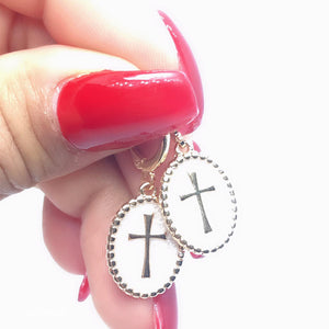Enamelled Cross Earrings - Pearl - 18k Gold Plated
