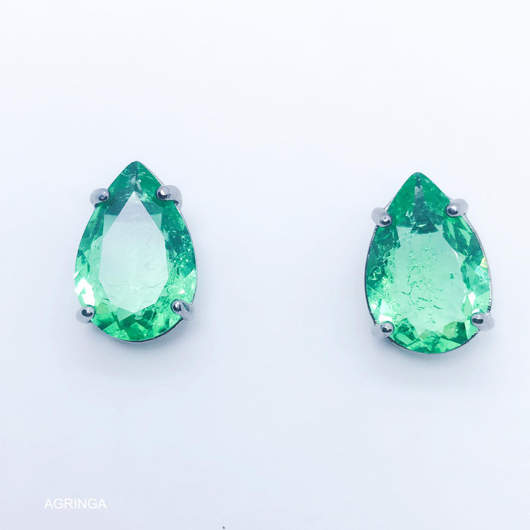 Green Tourmaline Medium Drop 10x15 Earrings - Black Rhodium Plated