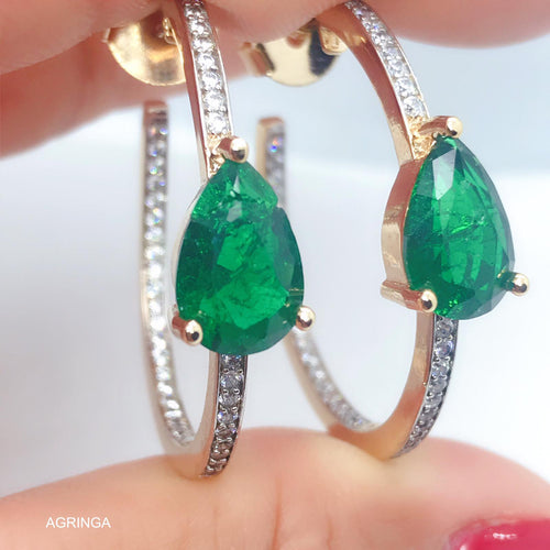 Colombian Emerald Fusion Light Points Droplet Hoop - 18k Gold Plated
