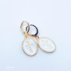 Enamelled Cross Earrings - White - 18k Gold Plated