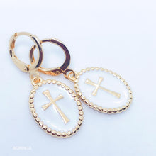 Load image into Gallery viewer, Enamelled Cross Earrings - White - 18k Gold Plated