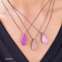 Load image into Gallery viewer, Elongated 30x15 Drop Necklace - Rose Quartz Premium Fusion - Black Rhodium Plated