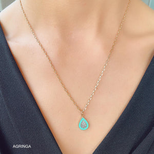 Enamelled Droplet Necklace - Tiffany - 18k Gold Plated