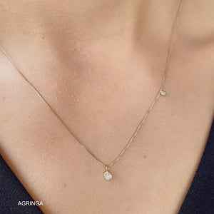 Two Lights dots Zircons Necklace - 18k Gold Plated