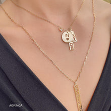 Load image into Gallery viewer, Mixed Pendants Gratidao & Amor - Double Necklace - 18k Gold Plated