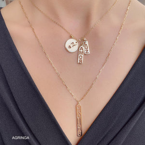 Mixed Pendants Gratidao (Gratitude) & Amor (Love) - Double Necklace - 18k Gold Plated