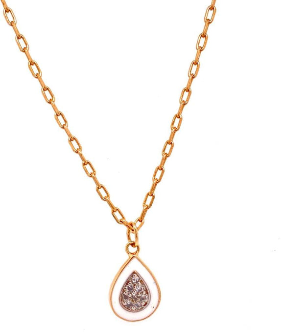 Enamelled Droplet Necklace - White - 18k Gold Plated