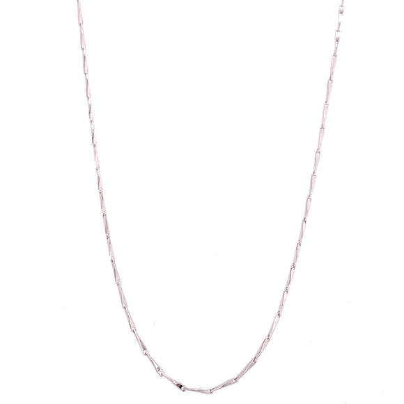 Long Necklace - White Rhodium Plated
