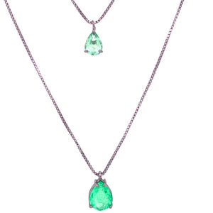 Double Drop Necklace - Green Tourmaline Fusion - Black Rhodium Plated