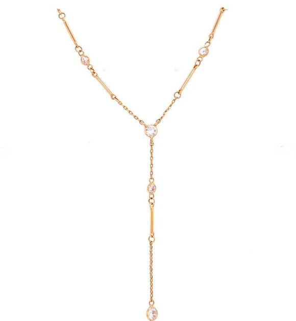 Fine Tie Necklace with Zircons - 18k Gold Plated