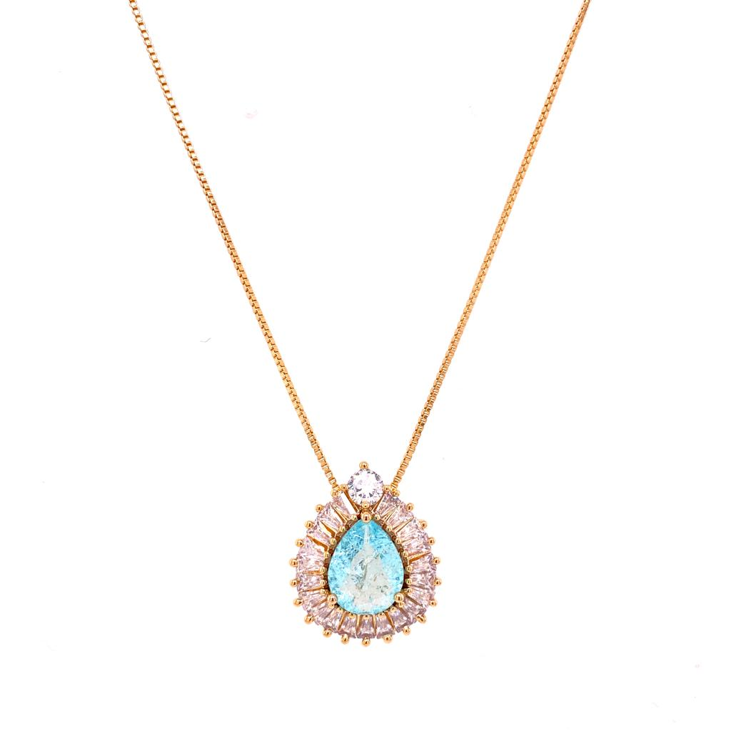 Baguette Bordered Drop Necklace -  Acquamarine - 18k Gold Plated