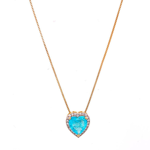 Princess Heart Necklace - Aquamarine - 18k Gold Plated