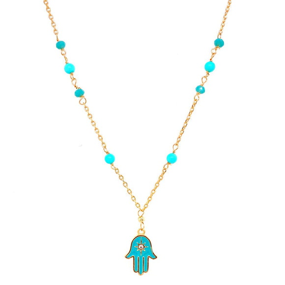 Enamelled Hamsa Necklace - Tiffany - 18k Gold Plated