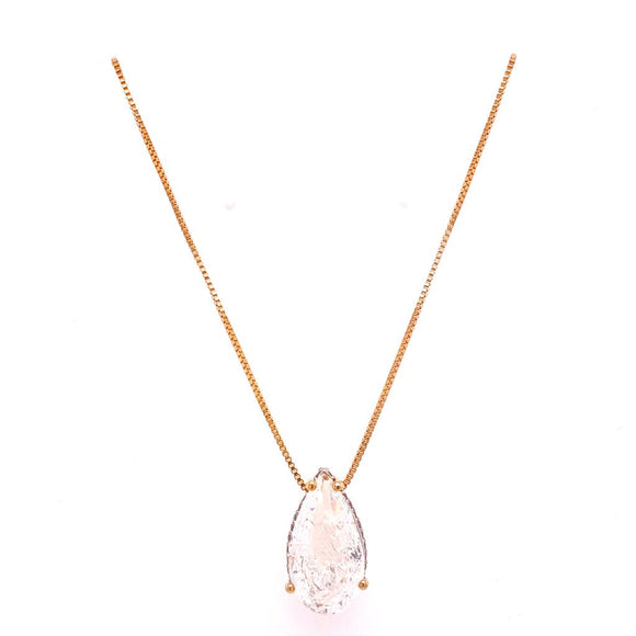 Crystal Fusion Zircons Gallery Drop Necklace - 18k Gold Plated