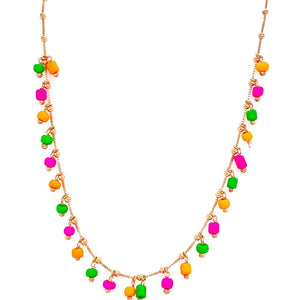 Multicoloured crystals Necklace - 18k Gold Plated