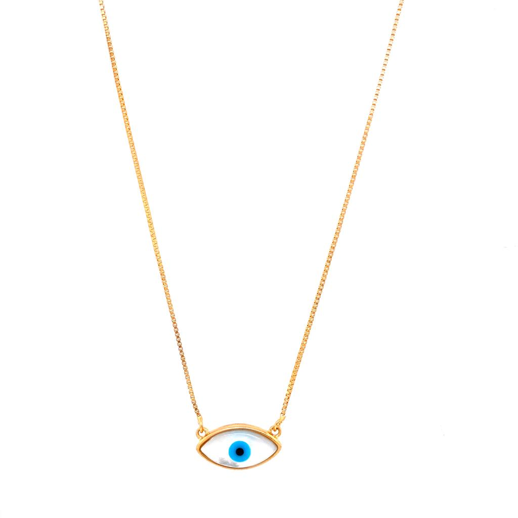 Mother of Pearl Evil Eye Small Necklace - 18k Gold Plated
