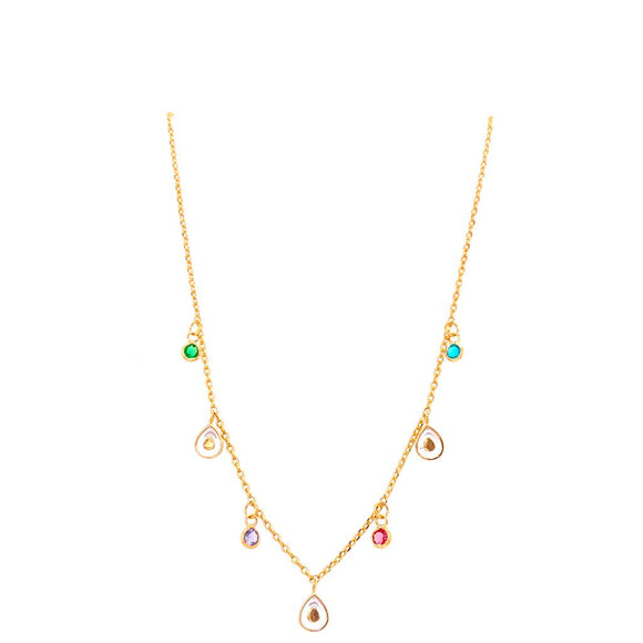 Enamelled Droplet & Light Points Necklace